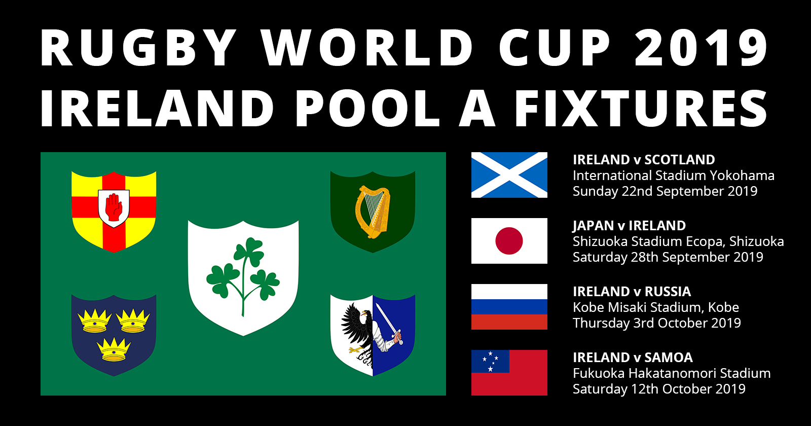 Ireland Rugby World Cup 2019 Fixtures