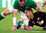 Aaron Smith celebrates scoring New Zealand's first try in World Cup quarter final against Ireland