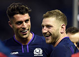 Adam Hastings and Finn Russell playing for Scotland