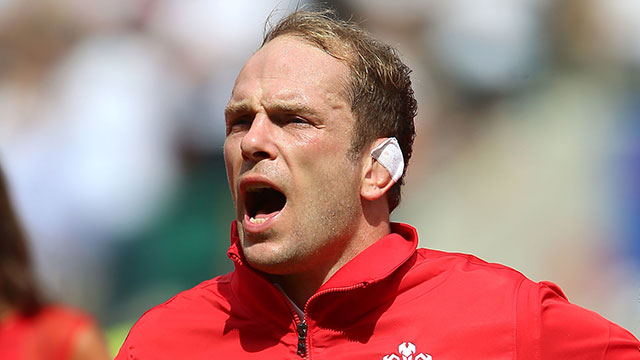 Alun Wyn Jones singing the Welsh anthem during England v Wales World Cup warm up match at Twickenham