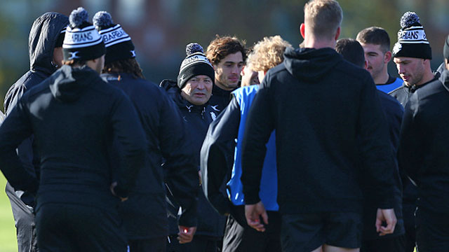 Barbarians head coach Eddie Jones talks to his players during training session