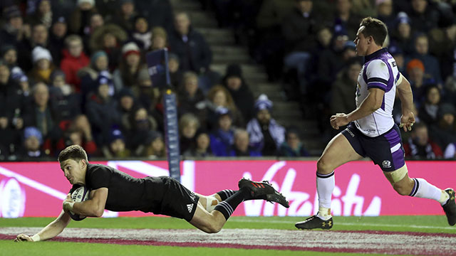 Beauden Barrett scores a try for New Zealand