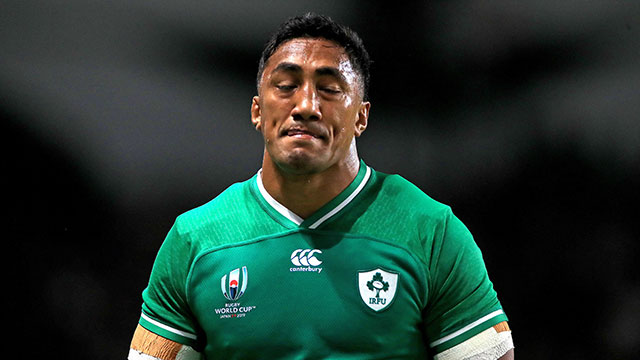 Bundee Aki leaves the field after receiving a red card in the Ireland v Samoa World Cup match