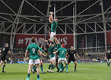 Devin Toner catches a line out during the Ireland v New Zealand autumn international