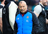 Eddie Jones with England players during 2019 Six Nations