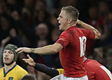 Gareth Anscombe celebrates after Wales beat Australia