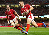 George North crosses a try for Wales in the World Cup warm up against England