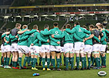 Ireland players in a huddle before match against Argentina