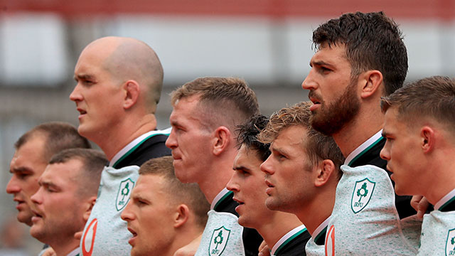 Ireland players line up against Italy in World Cup warm up match