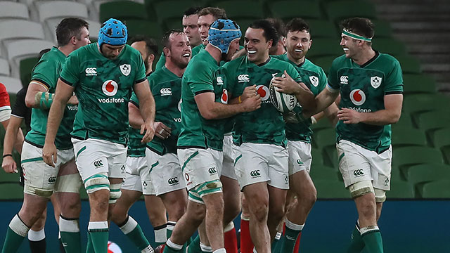 James Lowe is congratulated after scoring a try for Ireland v Wales in 2020 Autumn Nations Cup