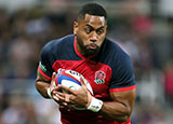 Joe Cokanasiga in action for England v Italy in World Cup warm up match
