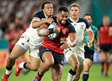 Joe Cokanasiga on his way to scoring his second try against USA in World Cup