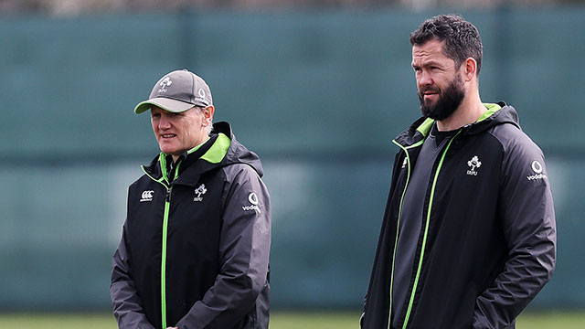 Joe Schmidt and Andy Farrell oversee an Ireland training session