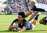 Joey Carbery scores a try for Leinster against Montpellier
