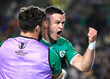 Johnny Sexton celebrates scoring a try for Ireland v Samoa at World Cup