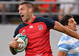 Jonny May in action for England v Argentina at World Cup