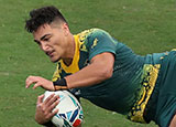 Jordan Petaia scores a try for Australia v Uruguay at World Cup