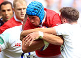 Justin Tipuric in action for Wales against England in World Cup warm up match at Twickenham