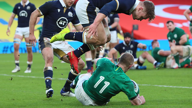 Keith Earls scores a try for Ireland v Scotland in 2020 Autumn Nations Cup
