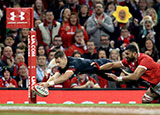 Liam Williams scores a try for Wales v Tonga