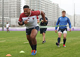 Manu Tuilagi during an England training session before World Cup semi final