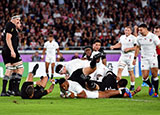 Manu Tuilagi scores a ty for Egland v New Zealand in World Cup semi final