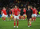 Mike Phillips and Sam Warburton appear dejected after the final whistle at Eden Park in 2011 World Cup
