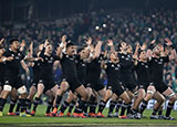 New Zealand players perform the haka before a match against Ireland at the Aviva Stadium in November 2018