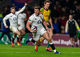 Owen Farrell runs in to score a try for England v Australia