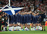 Scotland players line up against Japan at Rugby World Cup