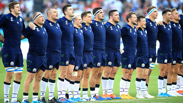 Scotland players line up against Russia in World Cup