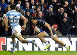 Sean Maitland dives in to score a try for Scotland v Argentina