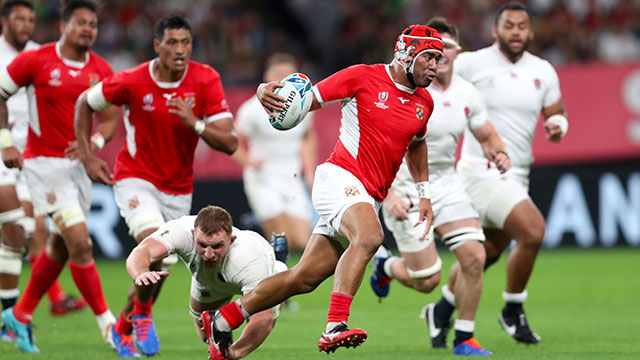 Siale Piutau in action for Tonga during a match against England at 2019 Rugby World Cup