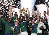Siya Kolisi lifts the trophy as South Africa win the 2019 Rugby World Cup final