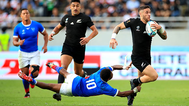 TJ Perenara breaks through to score New Zealand's eleventh try against Namibia in World Cup match