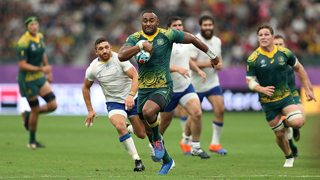 Tevita Kuridrani breaks through to score Australia's fourth try against Uruguay at World Cup