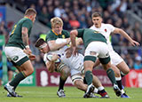 Tom Curry is tackled during England v South Africa match in 2018 Autumn Internationals