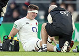 Tom Curry receives treatment during the England v South Africa match