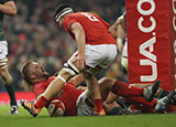Tomas Francis scores a try for Wales v South Africa