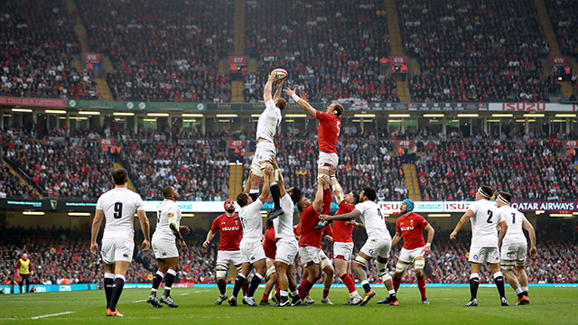 Wales and England compete for a linout at the Principality Stadium during 2019 Six Nations