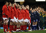 Wales and South Africa line up for the anthems
